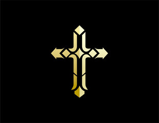 gold cross church vector logo