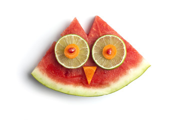 Food art creative concepts. Cute animal made of fruits such as watermelon isolated over a white background.