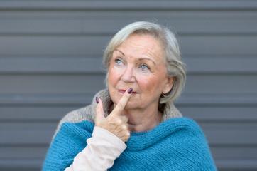 Thoughtful stylish senior woman