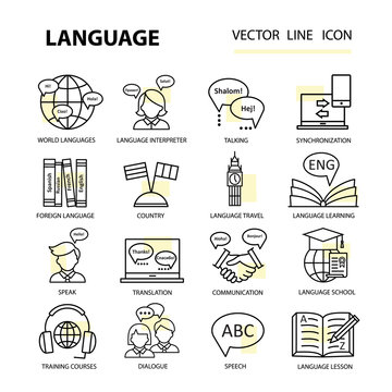 Set modern linear icons on the topic of learning a foreign language.