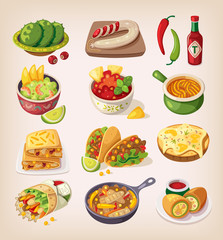 Mexican street, restaraunt and homemade food and product icons f