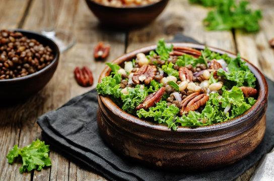 Kale pecan white beans lentils salad