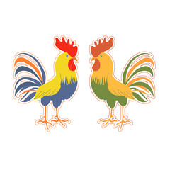 Cute rooster sticker in cartoon style.