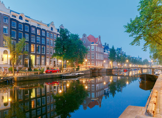 Amsterdam. City Canal at dawn.