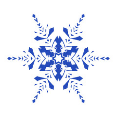 Hand-drawn doodles natural blue color snowflake. Zentangle mandala style.