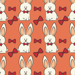 cute rabbit animal and red bow ties. bunny background. colorful design. vector illustration