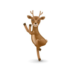 Dancing deer of Santa Claus. Element for Christmas and New Year's day design. Isolated vector illustration on white background.