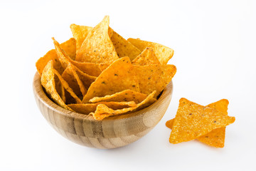 Nachos in bowl isolated on white background