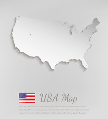 USA map white card paper 3D. Vector