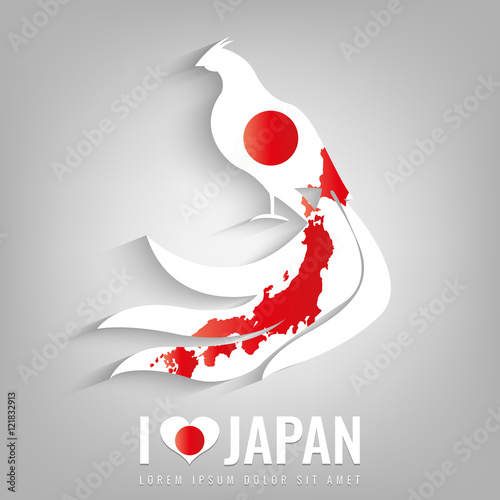 National Japan Symbol Pheasant With An Official Flag And Map - Japan map silhouette