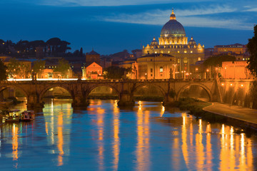 Aluminium Prints Rome and Vatican in a summer night