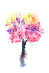 Abstract autumn tree, colorful watercolor painting, hand painted, impressionist style