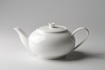 Spherical teapot white porcelain