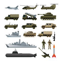 Military Vehicles Object Set, Side View, Army, Air Force, Navy, Marine, Icons