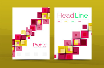 Set of front and back a4 size pages, business annual report design templates