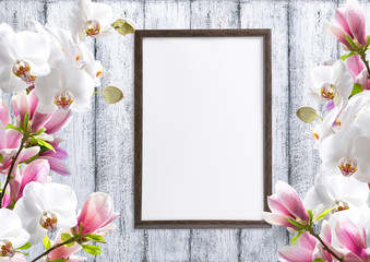 Magnolia flowers with orchidea and motivational frame