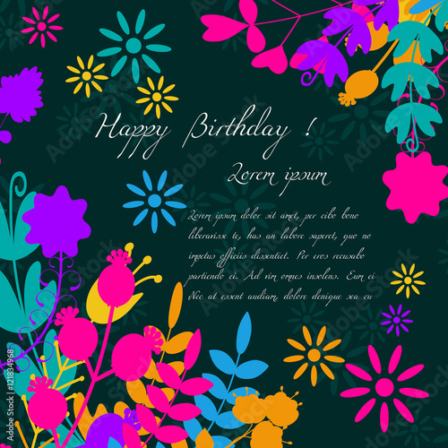 Happy Birthday Label For Holiday . For Invitations And Greeting