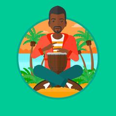 Man playing ethnic drum vector illustration.