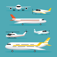 Plane, Light Jet Objects Flat Design Set, Aircraft, Commercial Aviation, Aerial Transport