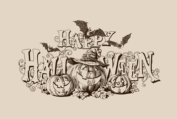 Halloween pumpkin vintage header vector illustration