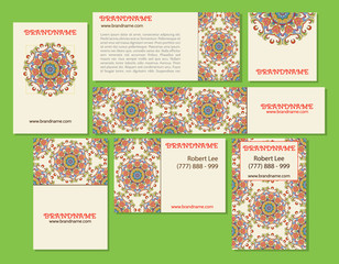 Collection of ethnic cards,menu or wedding invitations with indian ornament