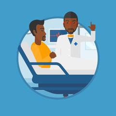 Doctor visiting patient vector illustration.