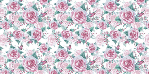 Wildflower rose flower pattern in a watercolor style isolated. Full name of the plant: rose, platyrhodon, rosa. Aquarelle flower could be used for background, texture, pattern, frame or border.