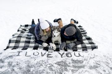 Declaration of love on snow.