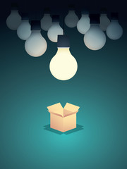 Think outside the box business concept vector background with lightbulb. Creativity and creative solutions abstract symbol.