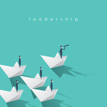 Businessman with monocular on paper boat as a symbol of business leadership. Visionary leading team, teamwork concept.