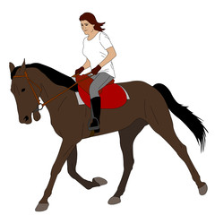 woman riding horse 3 - vector