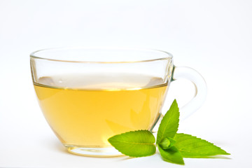 Glass transparent cup with tea and green mint leaf