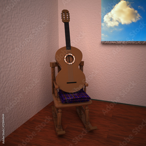 Guitar over rocking chair in a room