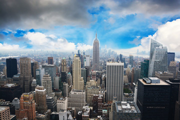 New York City skyline with beautiful clouds and blue sky