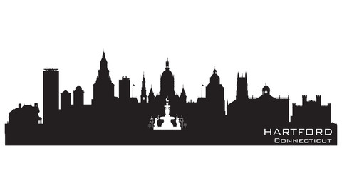 Hartford Connecticut city skyline vector silhouette