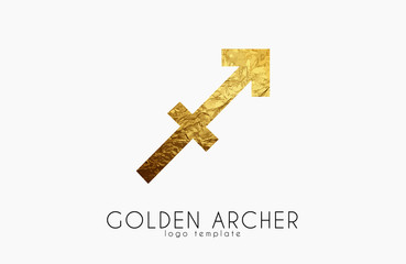 Golden archer. Golden zodiac sign. Archer zodiac