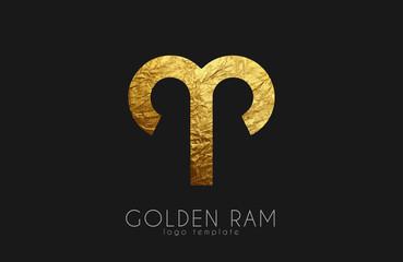 Golden ram. Golden zodiac sign. Ram zodiac