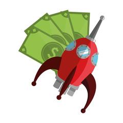 flat design money bills and rocket  icon vector illustration