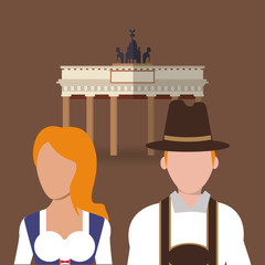 flat design germany oktoberfest beer brandenburg gate icons image vector illustration