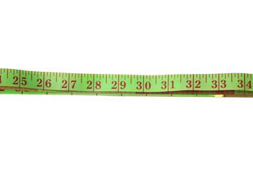 Grenn measure tape Isolated over white background