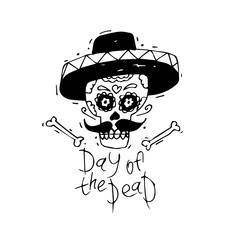 Day of the Dead. Mexican human skull with sombrero hat. Lino-cut. Flat design vector illustration.