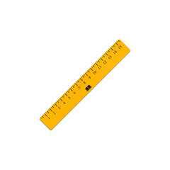 The yellow ruler. Student supplies image. Top view illustration.
