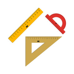Set of ruler, triangle and a protractor. Student supplies image. Top view illustration.