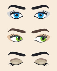 Eye vector at different positions. Beautiful female eyes