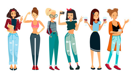 Vector People Illustration with Six Beautiful Women: Student Girl, Fitness Girl, School Girl, Selfie Girl, Office Girl and a Housewife. Colorful Vector People Set Collection