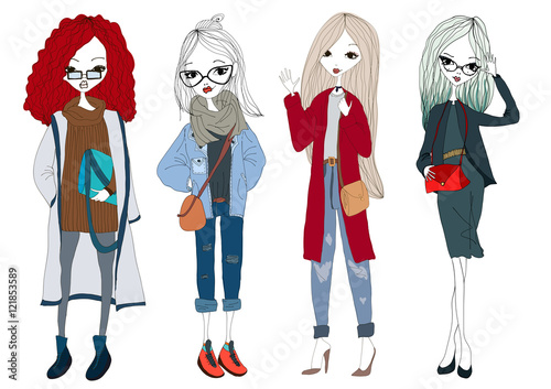 fashion illustration with fashion girls and stylish clothes