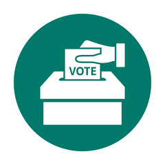 Hand putting voting paper in the ballot box. Flat voting icon