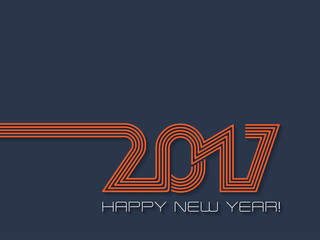 Happy new year 2017  background in blue and orange Fotomurales