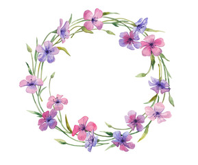Watercolor illustration of floral wreath.