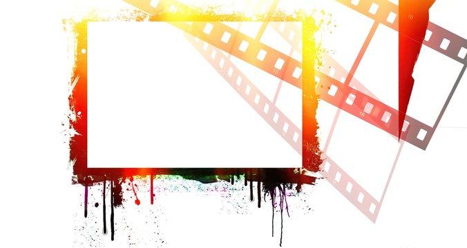 Grunge dripping colorful film strip frame.